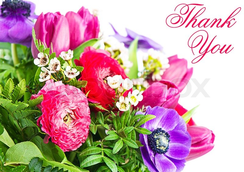 Thank you. colorful flowers bouquet. card concept | Stock Photo ...
