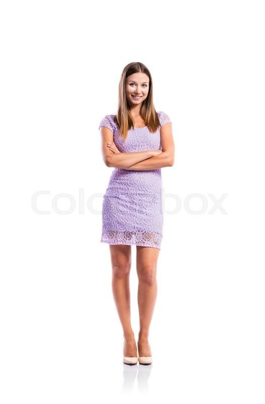 395b66403a1b Stock image of  Standing teenage girl in elegant purple lace dress