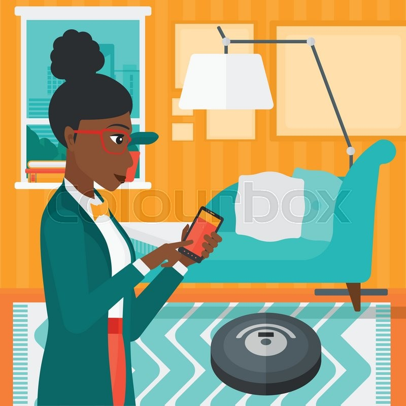 An African American Woman Controlling Robot Vacuum Cleaner With Her