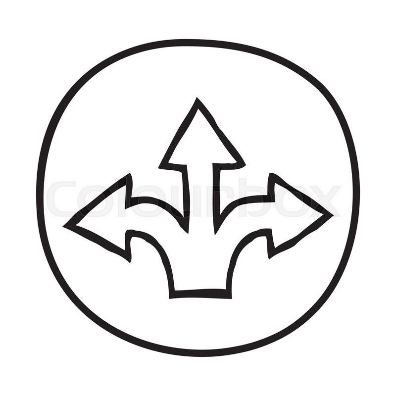 Doodle 3 Arrows Icon Infographic Symbol In A Circle Line Art Style