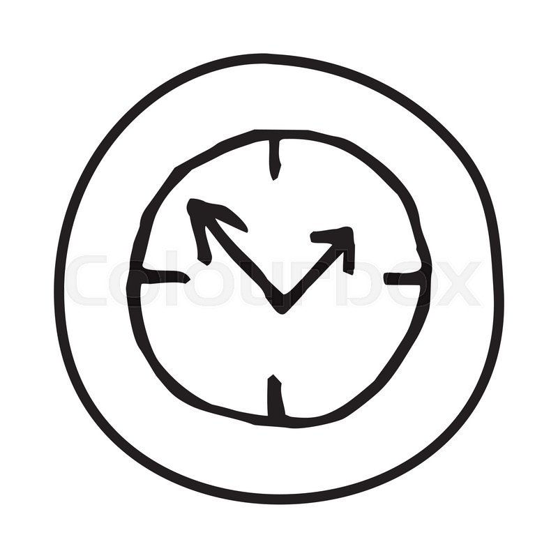 doodle clock icon infographic symbol in a circle line art style