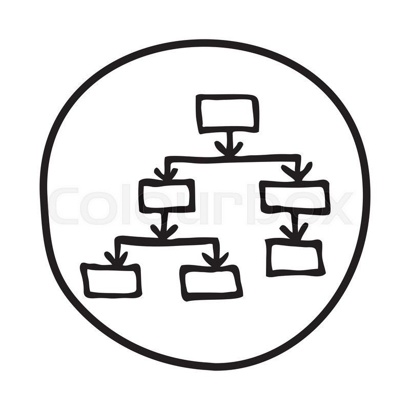 doodle flow chart icon  infographic symbol in a circle