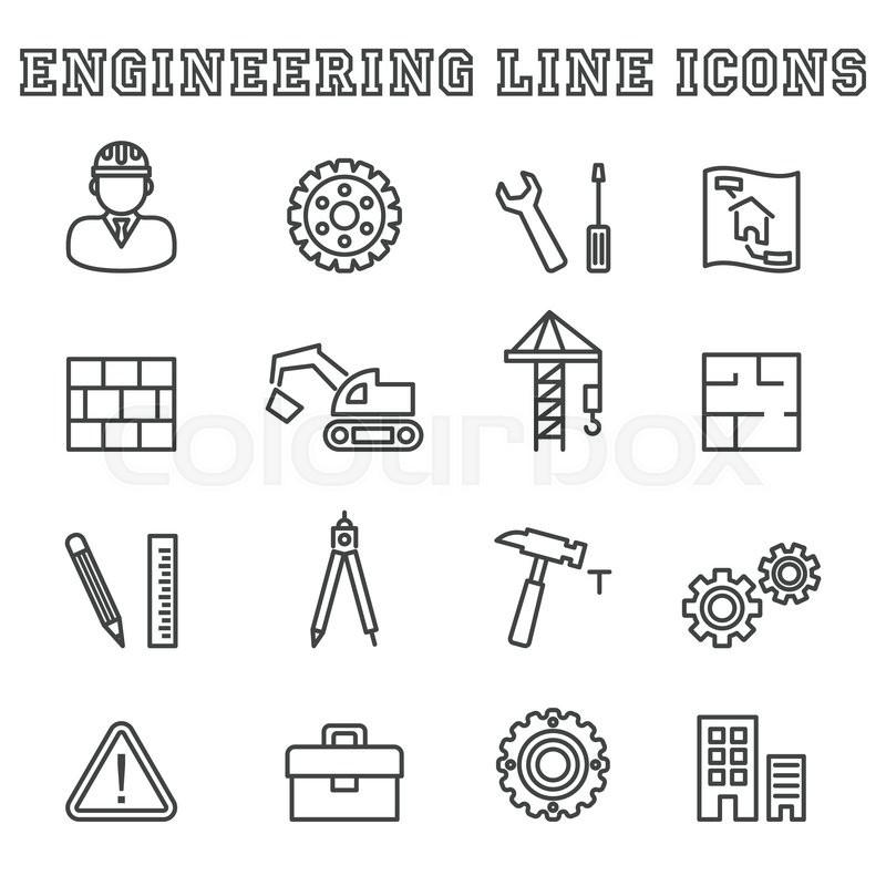 Engineering line icons, mono vector symbols | Stock Vector ...