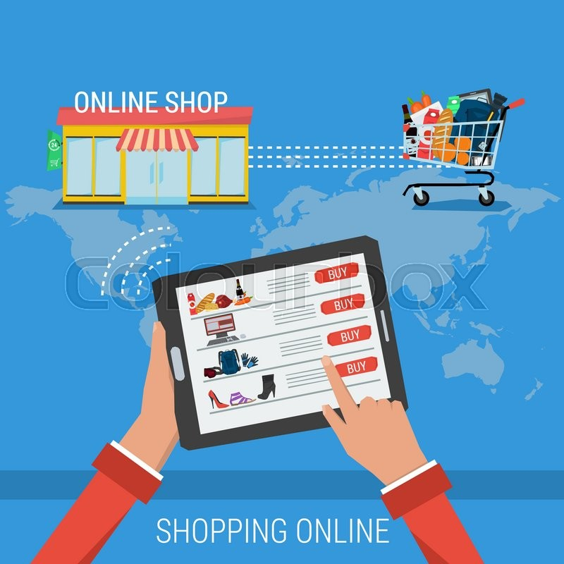 Vector concept process shopping online infographic of for How to buy goods online