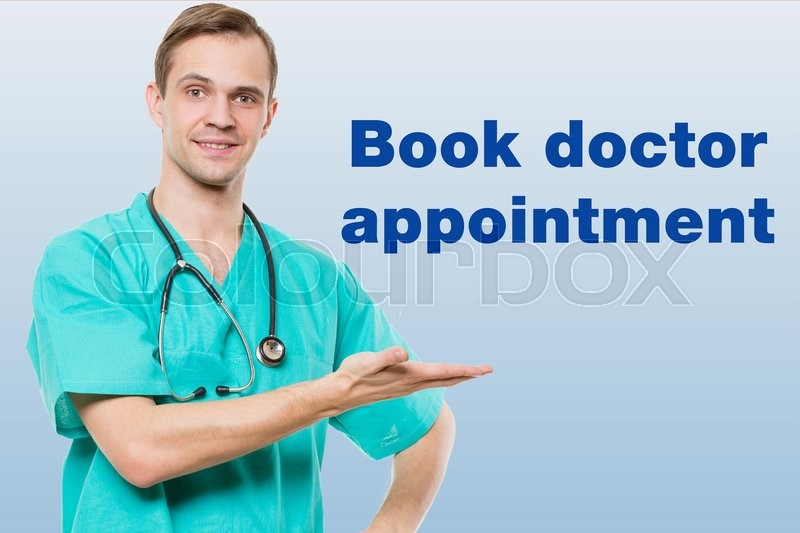 Healthcare, profession, symbols, people and medicine concept - smiling male doctor with stethoscope in white coat over blue background with medical icons. book doctor appointment, stock photo