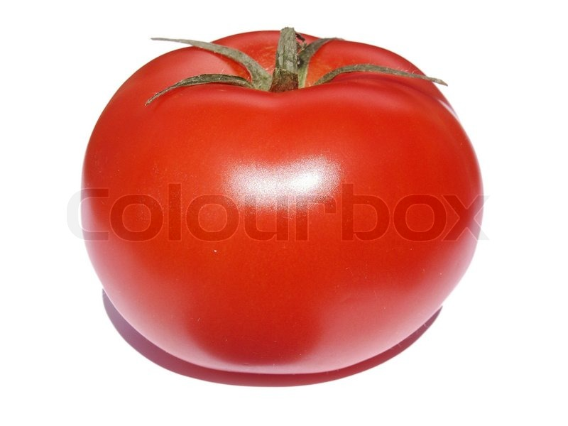 The Big Red Tomato On A White Background Stock Photo