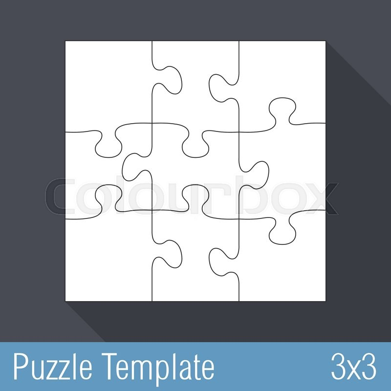 Square Jigsaw Puzzle Template 3x3 Pieces Vector Eps10 Illustration