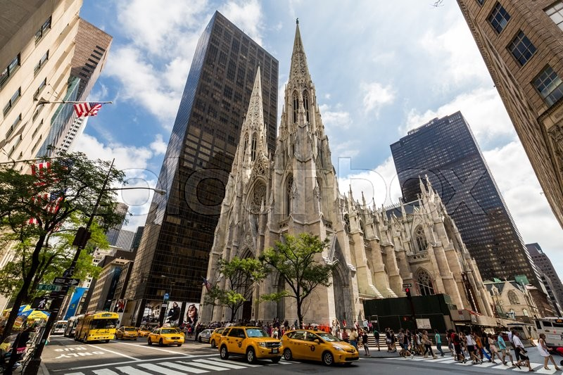 Patricks Cathedral In Midtown Manhattan With The Famous 5th Avenue On August 23 2015 Its A Decorated Neo Gothic Style Roman Catholic Church