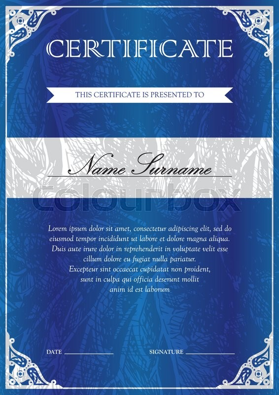 Vertical Blue Certificate And Diploma Template With Vintage Floral