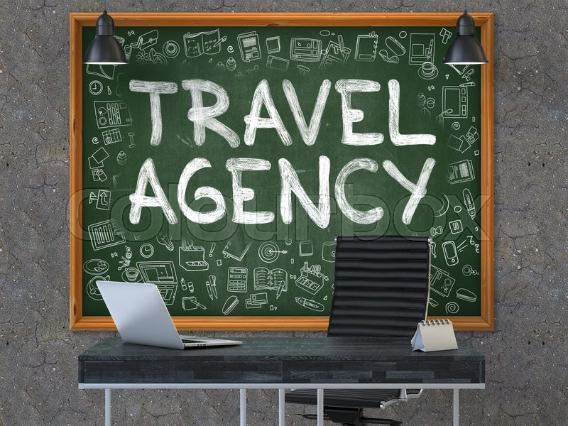 Travel Agency - Hand Drawn on Green     | Stock image | Colourbox