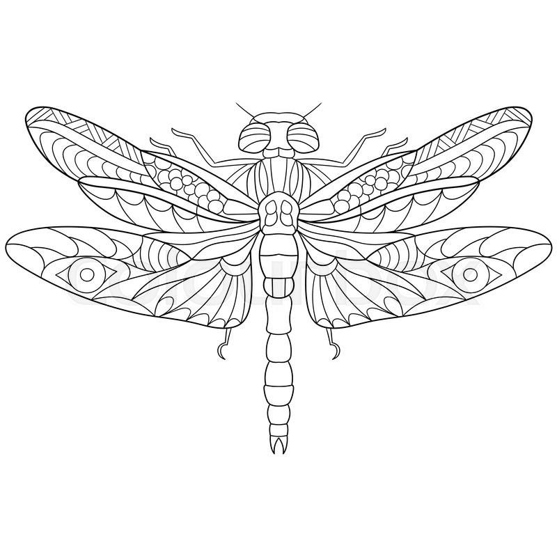 Zentangle stylized cartoon dragonfly