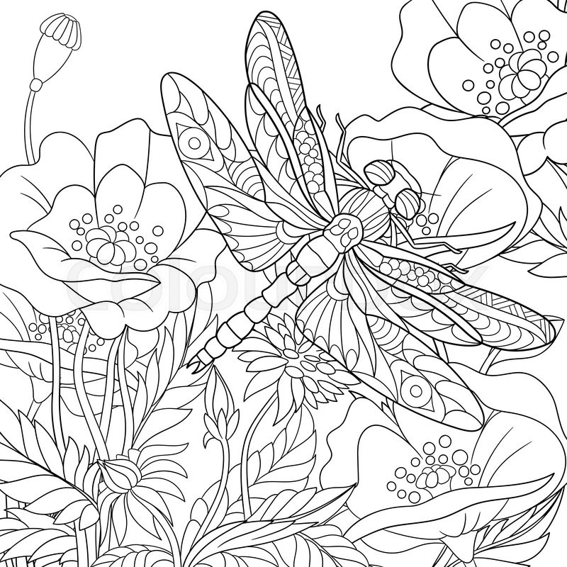 Zentangle stylized cartoon dragonfly insect is flying for Dragonfly coloring pages