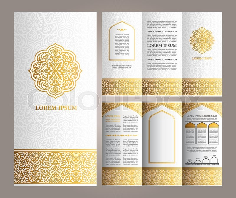 luxury brochure template - vintage islamic style brochure and flyer design template