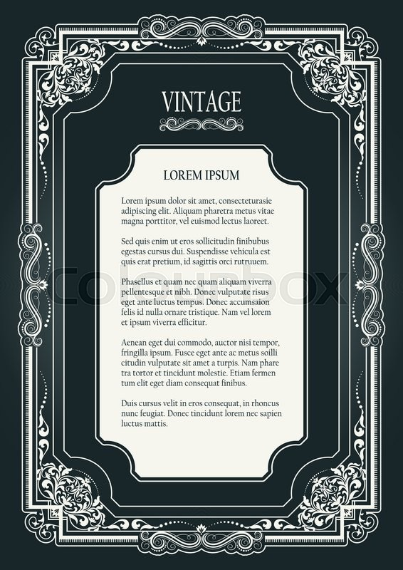 floral vintage ornamental frame on dark background for page certificate card invitation postcard and book decorations photo frames template