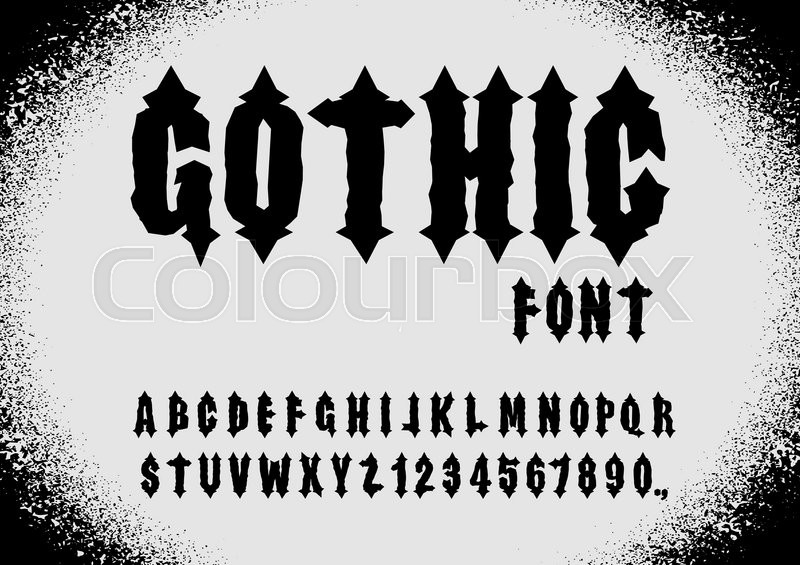 Gothic Letters Vintage Alphabet And Numbers Retro Vector