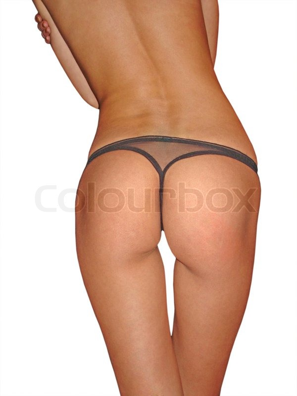 Stock image of 'Sexy girl's ass in black  lingerie.'