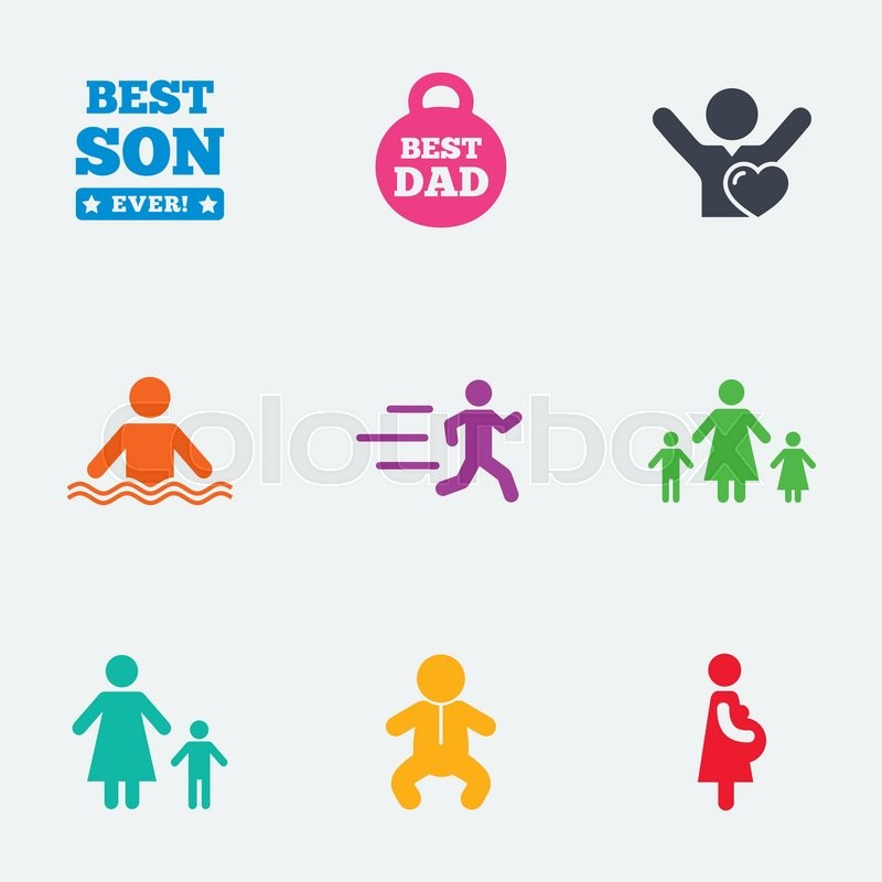 People, family icons. Swimming, baby and pregnant woman signs. Best dad, runner and fan symbols. Flat colored graphic icons, vector