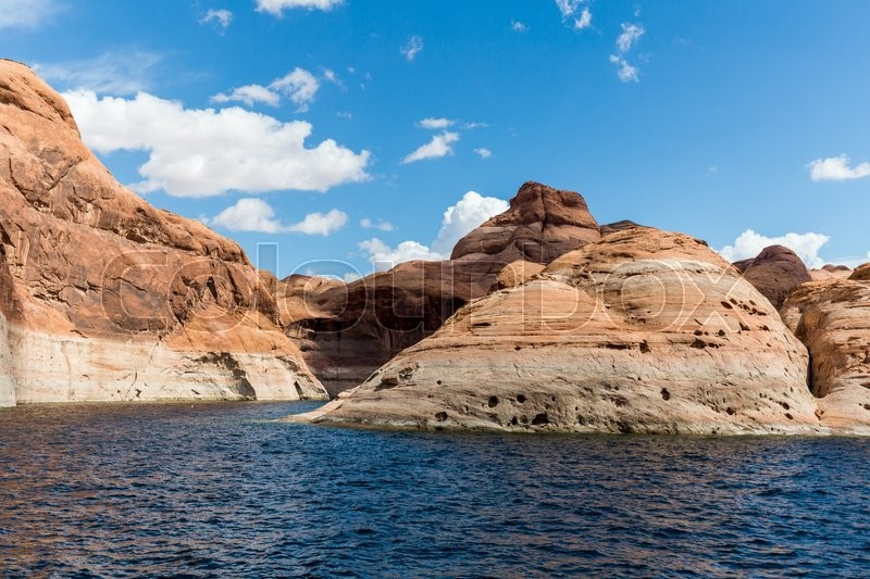 View of the Glen Canyon on the Lake Powell from boat, Utah, stock photo