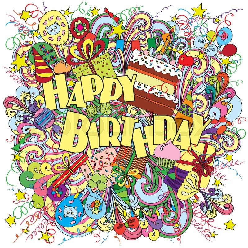 Happy Birthday greeting card on background with ...