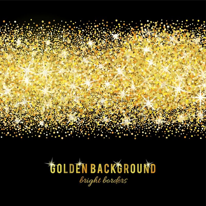 Gold Glitter Texture Isolated On Black Background. Vector