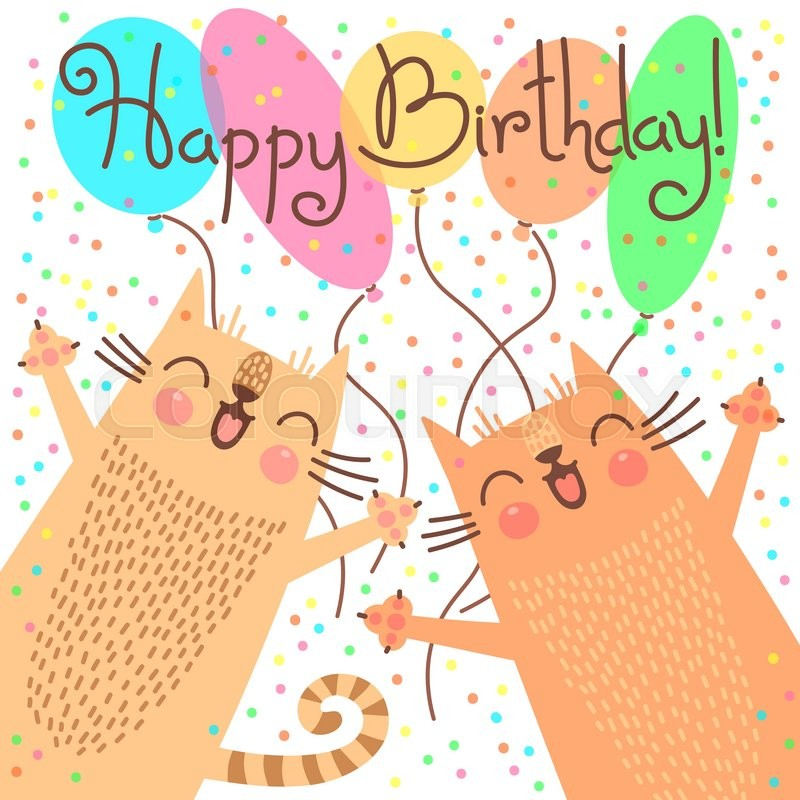 Cute Happy Birthday Card With Funny Kittens Vector Illustration