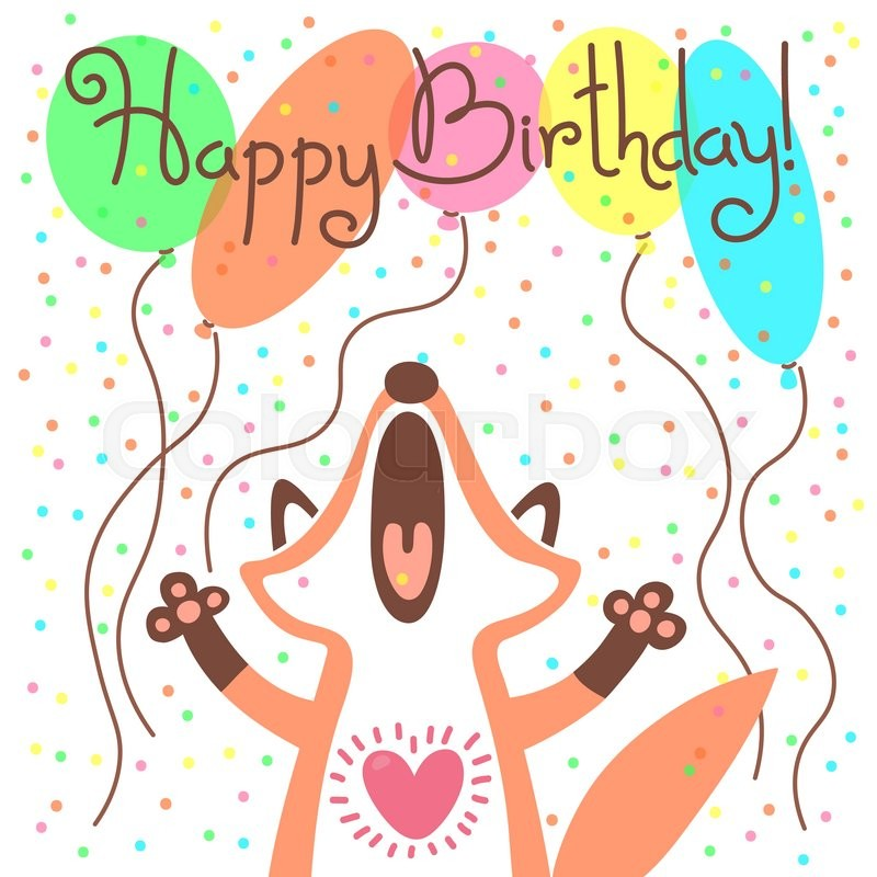 Cute happy birthday card with funny fox vector illustration stock cute happy birthday card with funny fox vector illustration vector bookmarktalkfo Images