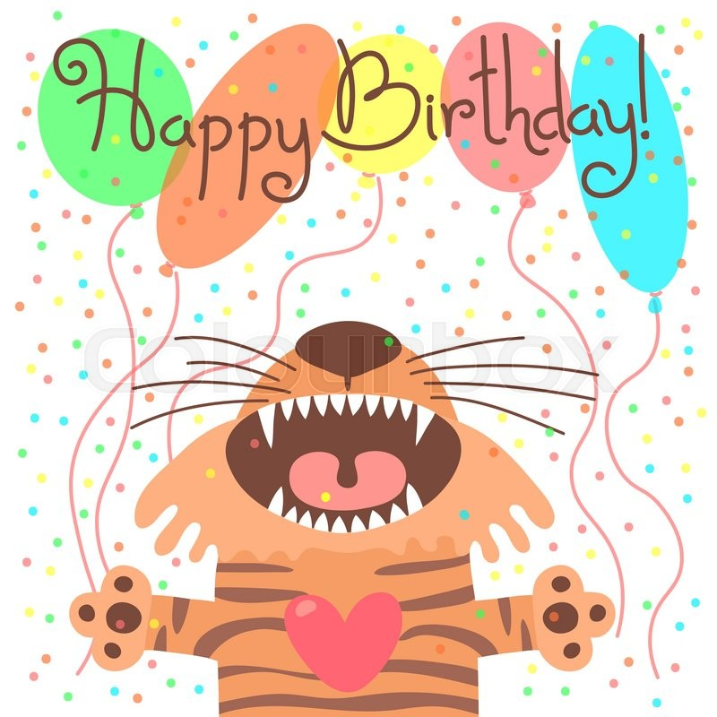 Cute Happy Birthday Card With Funny Tiger Vector Illustration