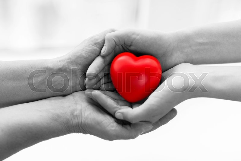 People, age, family, love and health care concept - close up of senior woman and young woman hands holding red heart, stock photo