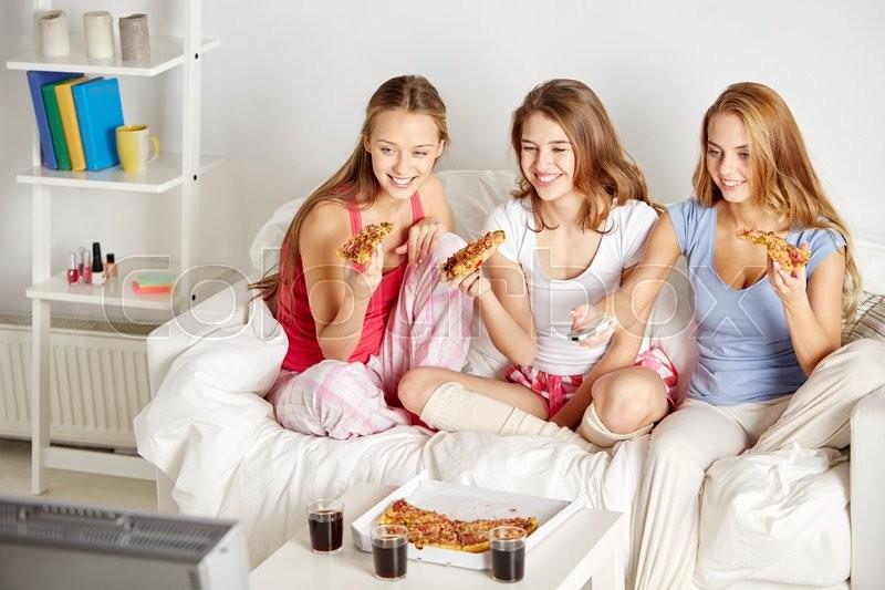 friendship people pajama party stock photo
