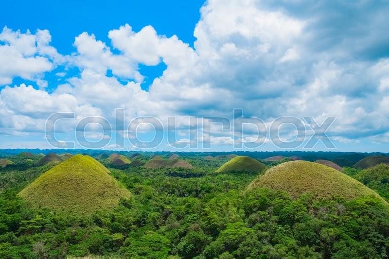 Chocolate Hills natural landmark, Bohol island, Philippines, stock photo