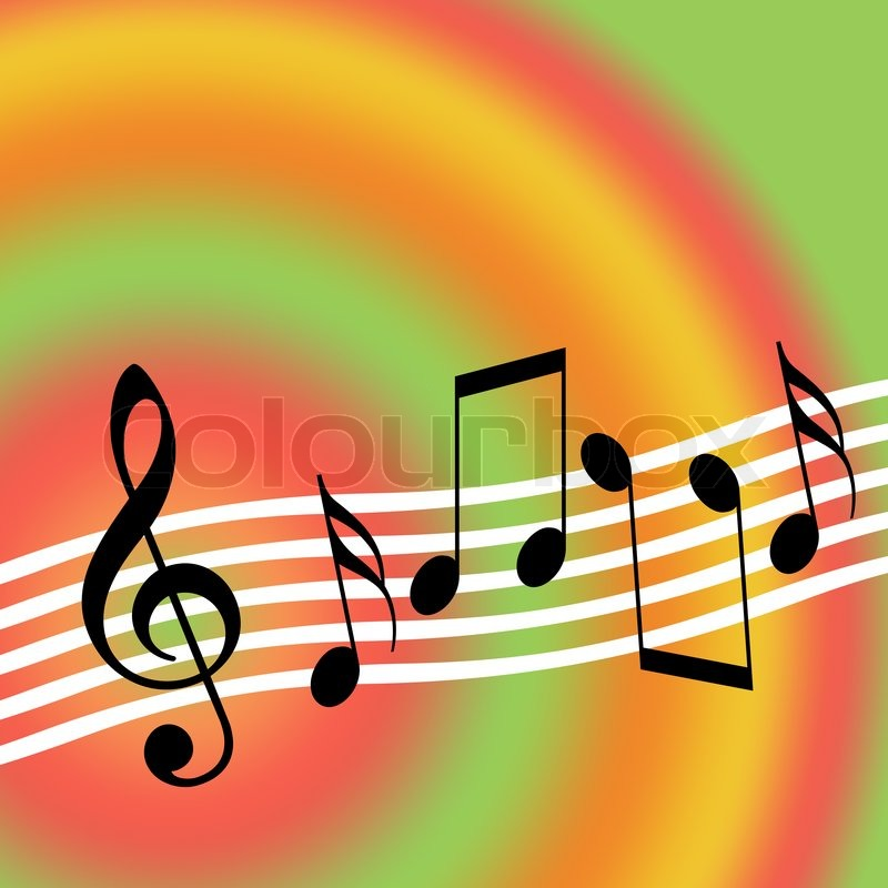 music background with random musical symbols stock photo