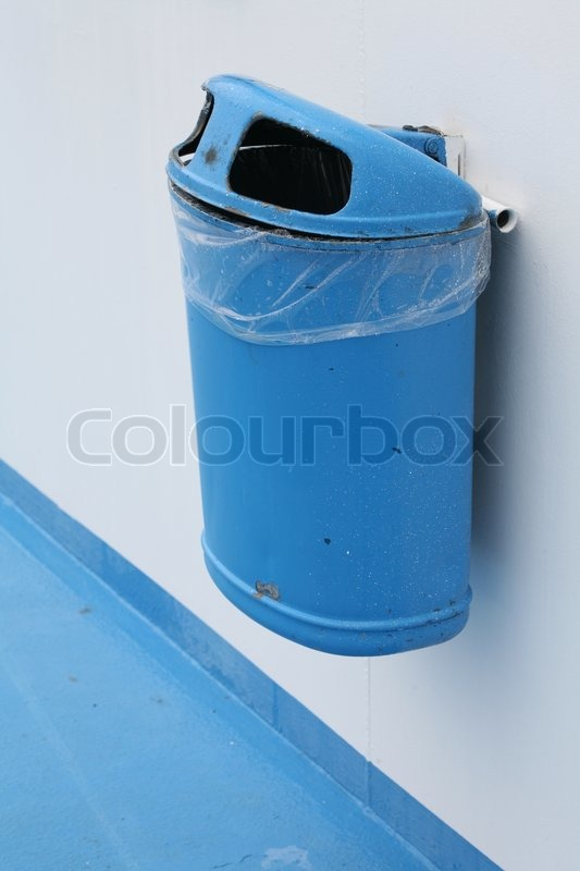 Garbage Can On A Ferry Boat In Denmark Stock Photo