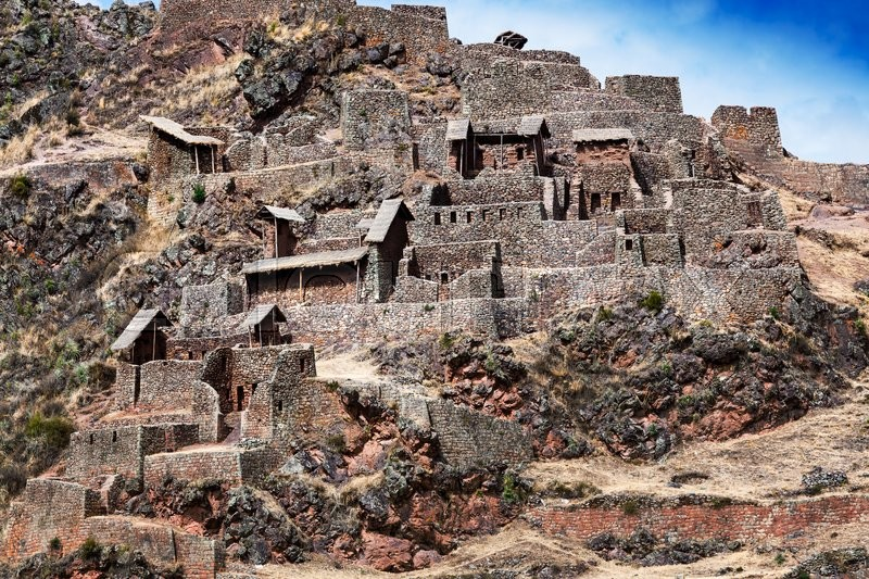 Inca ancient fortress in the mountains, stock photo