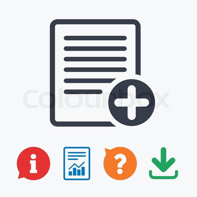 Text File Sign Icon Add File Document Symbol Information Think