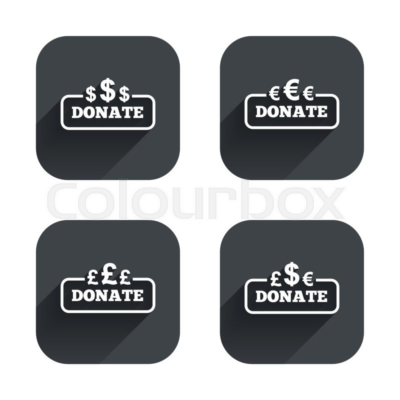 Donate Money Icons Dollar Euro And Pounds Symbols Multicurrency