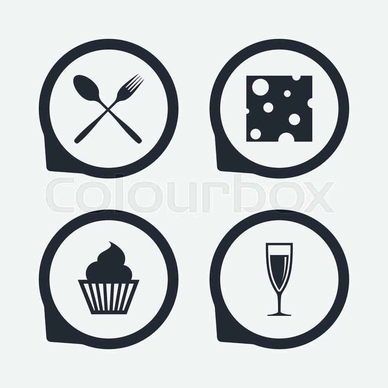 Food Icons Muffin Cupcake Symbol Fork And Spoon Sign Glass Of