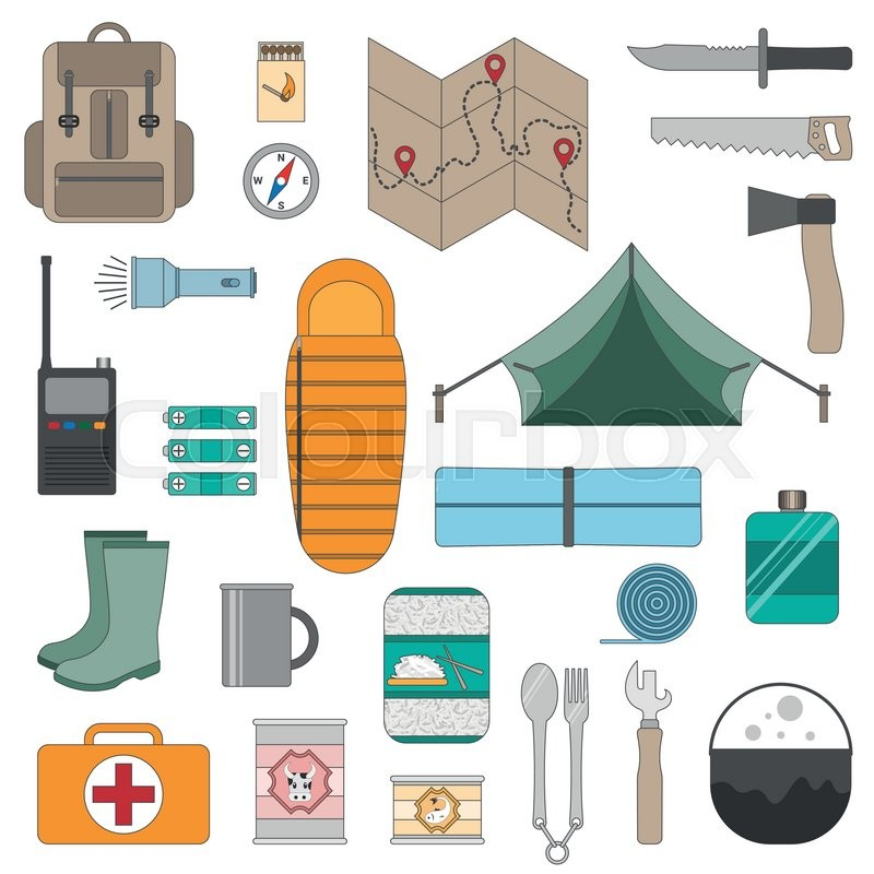 Set of camping equipment icons. Outdoor recreation. Hiking, camping, vector