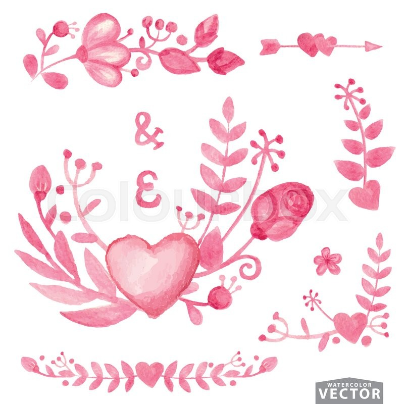 Vector Watercolor Floral Bouquetborder Set Flowers Branch Collection With Leaves Heartdecor ElementsHand Drawing Spring Or Summer Design