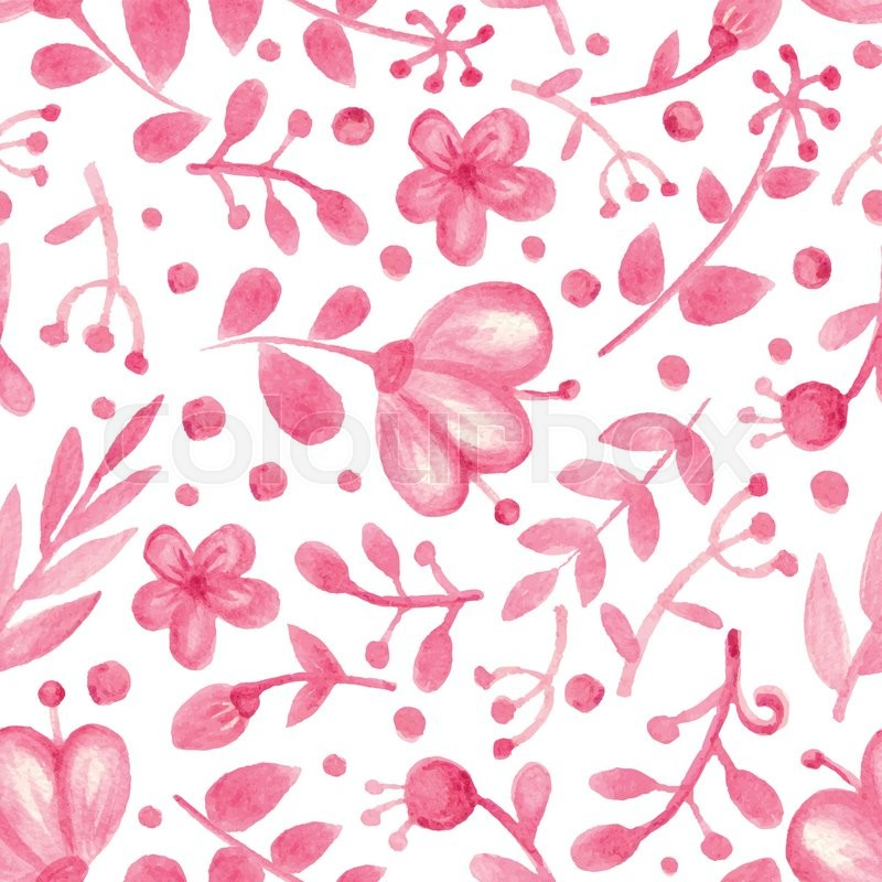 Vector watercolor floral seamless pattern pink flowers branch vector watercolor floral seamless pattern pink flowers branch background with leaves decor hand drawing spring or summer wallpaperbackdropfabric mightylinksfo