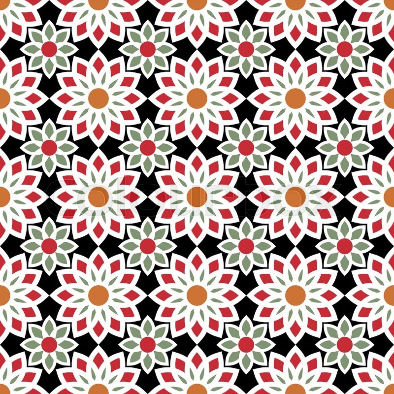 Floral cute pattern in bright colors 20s 50s 60s 80s for Cute paper designs