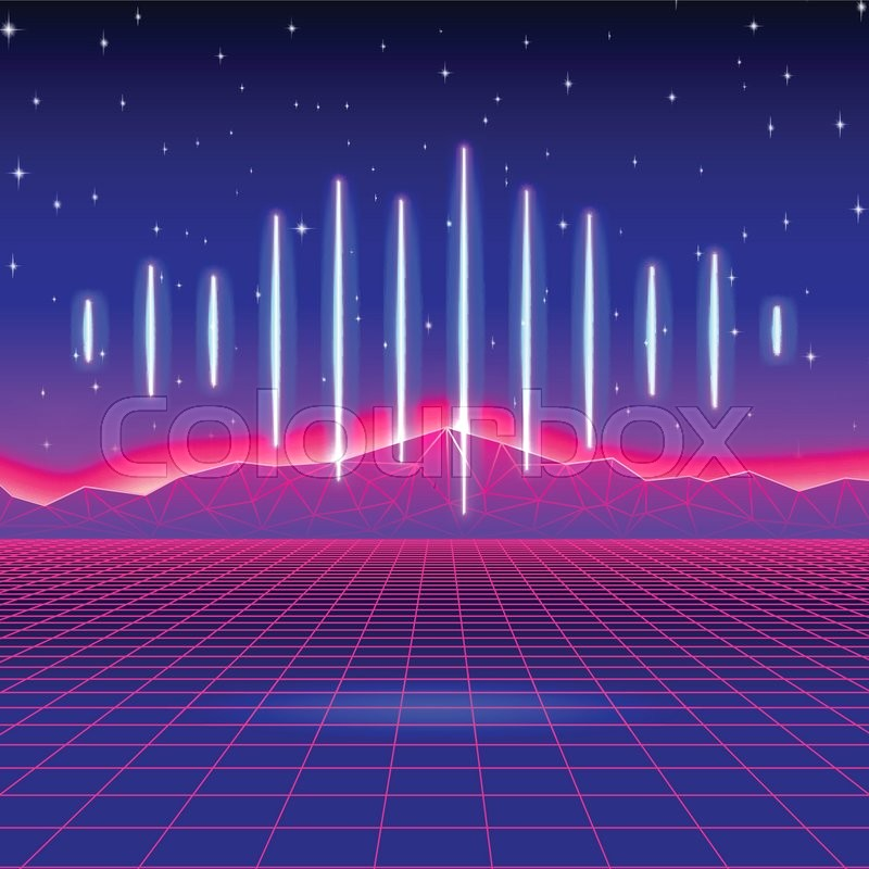 retro gaming neon background with shiny music wave stock