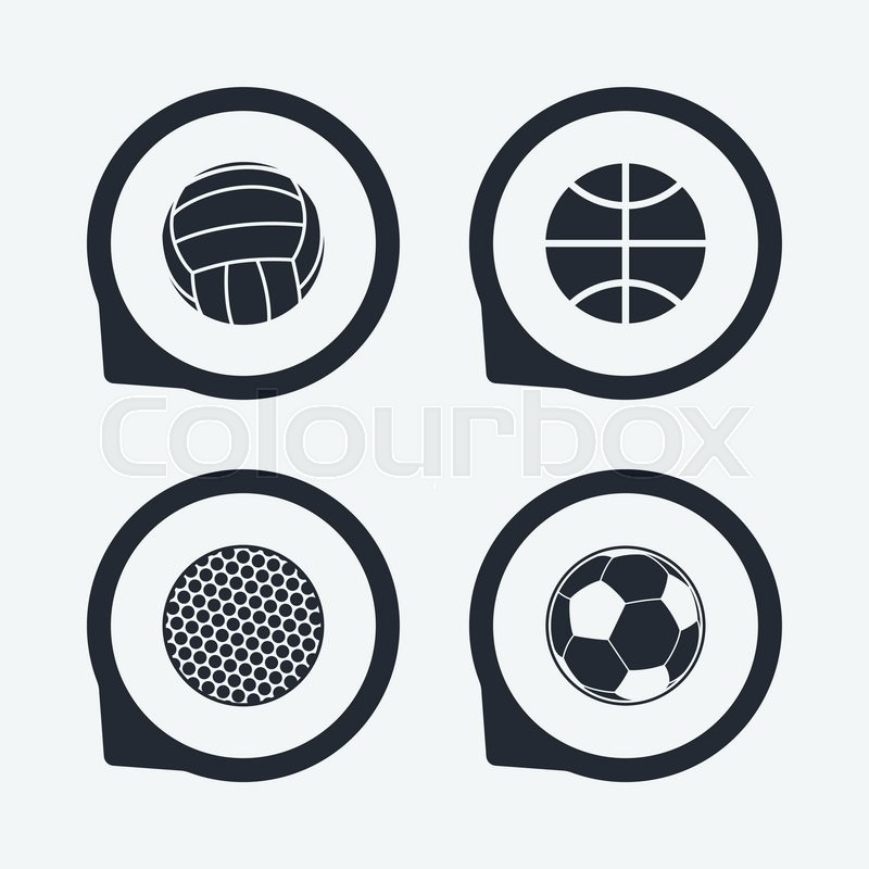 Sport balls icons. Volleyball, Basketball, Soccer and Golf signs. Team sport games. Flat icon pointers, vector