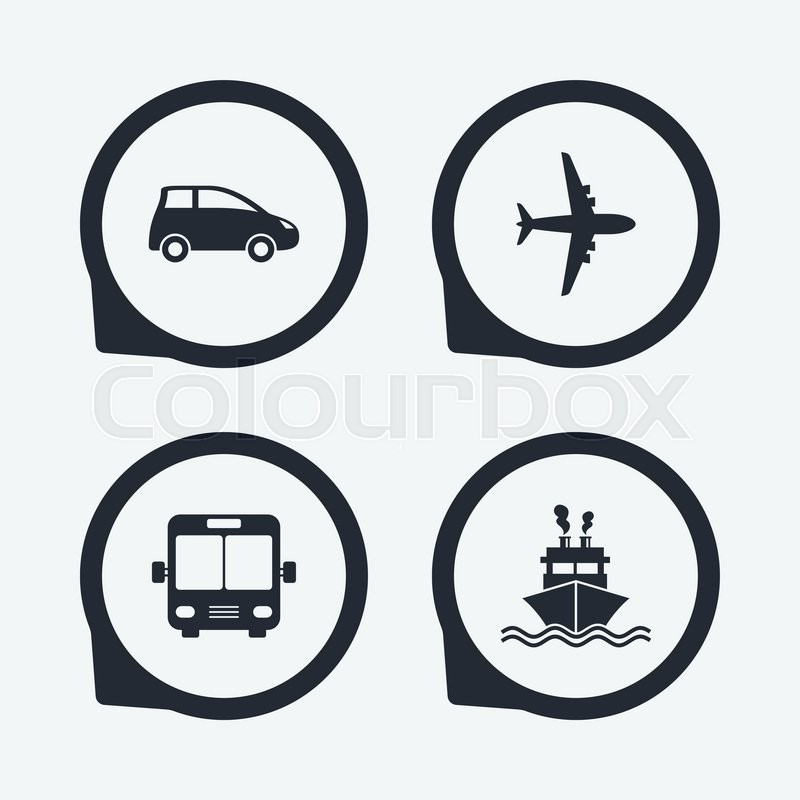 Transport Icons Car Airplane Public Bus And Ship Signs Shipping
