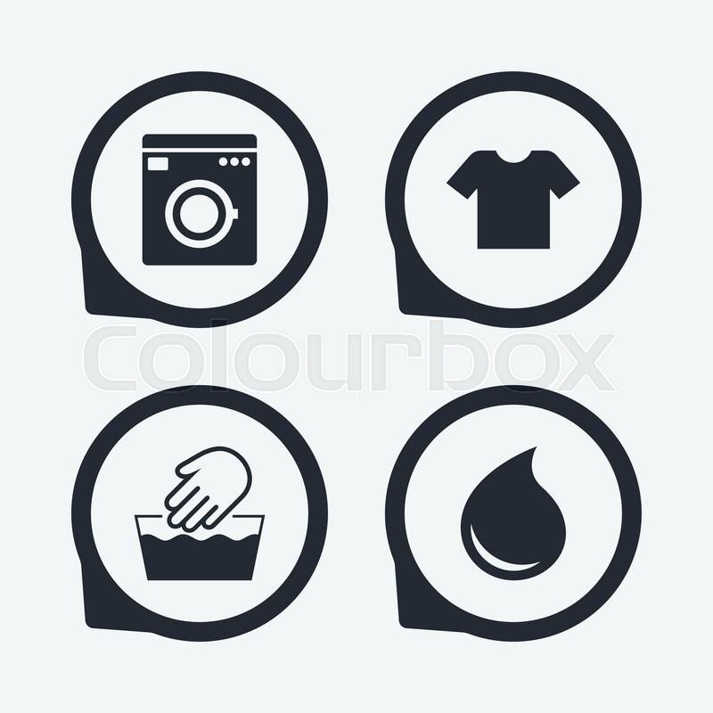 Clothes Wash Signs: Wash Machine Icon. Hand Wash. T-shirt Clothes Symbol