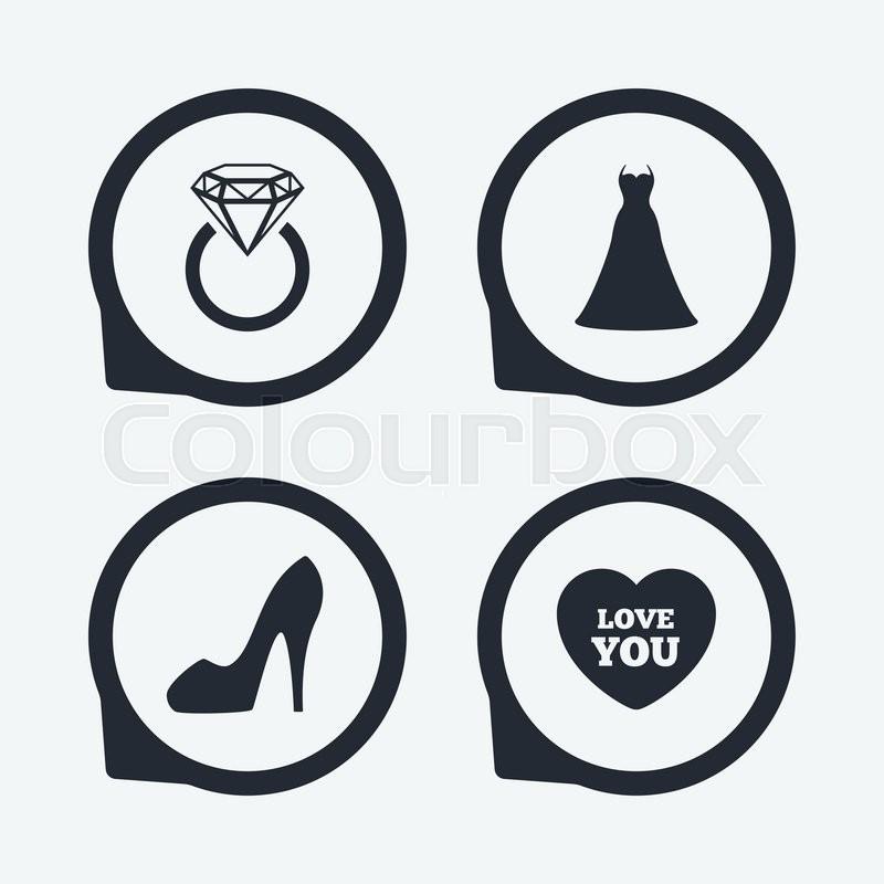 Wedding Dress Icon Women39s Shoe And Love Heart Symbols Wedding