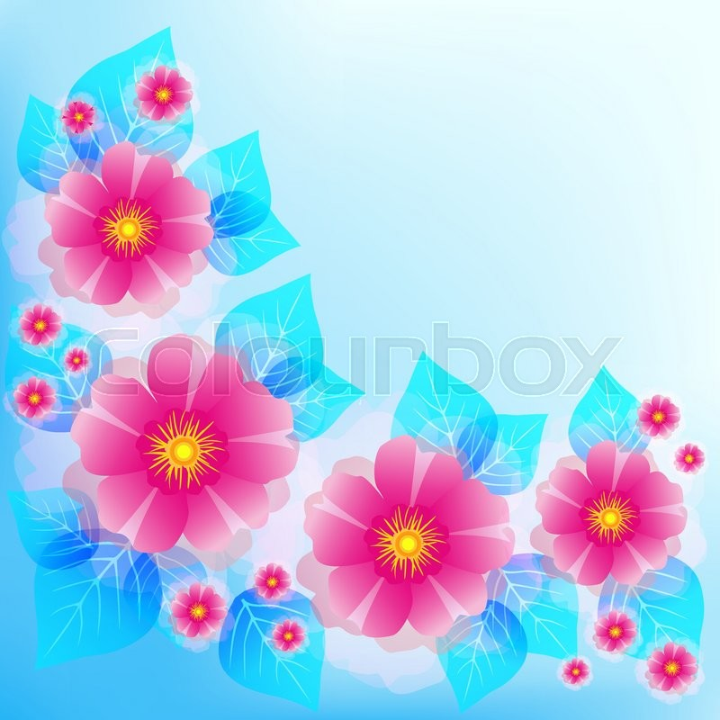 Festive romantic light blue background with pink flowers and leaves festive romantic light blue background with pink flowers and leaves beautiful stylish floral wallpaper greeting or invitation card for wedding mightylinksfo