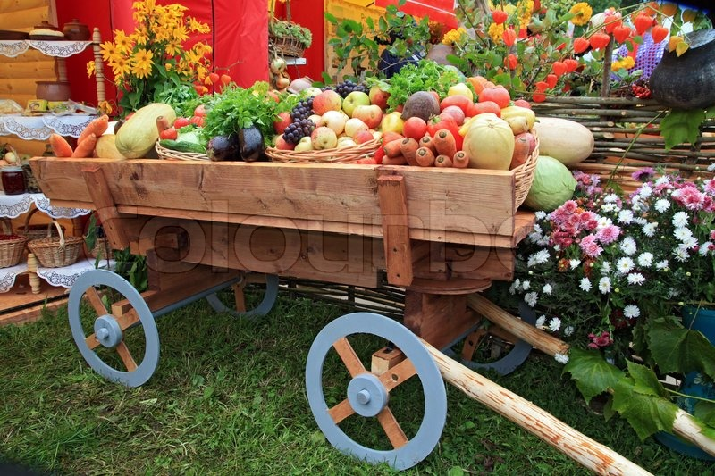 Cart With Vegetable And Fruit On Rural Market Stock