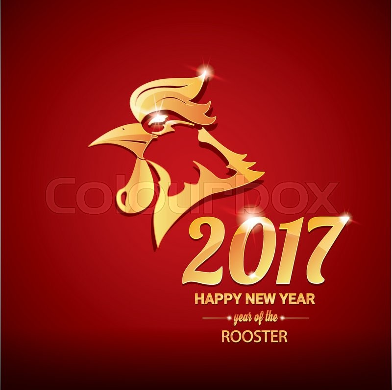 Chinese new year 2017 with golden rooster , animal symbol of new year ...
