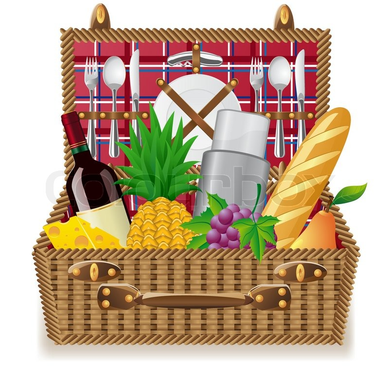 Picnic Basket Food : Basket for a picnic with tableware and foods vector