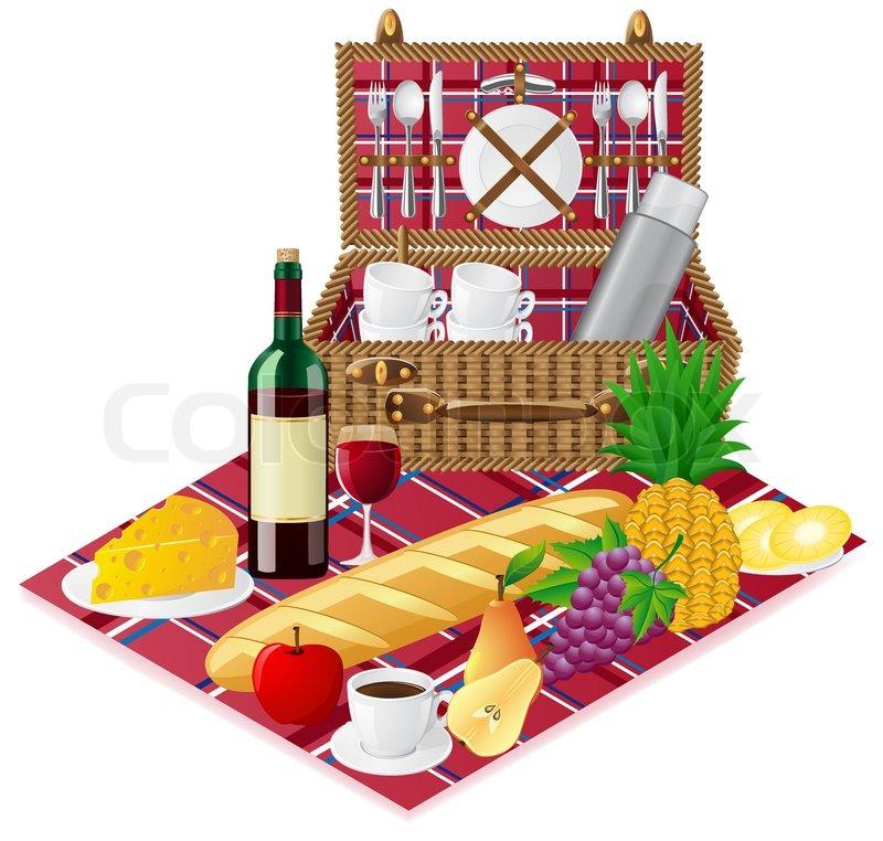 korb f r ein picknick mit geschirr und lebensmittel vektor illustration vektorgrafik colourbox. Black Bedroom Furniture Sets. Home Design Ideas